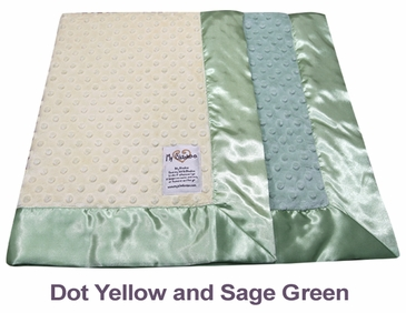 Dot Yellow Sage Green Dot Velour Two Tone Blanket by My Blankee