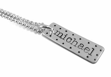 Dotted Sterling Silver Tag Necklace