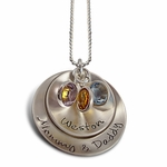 Double Curved Charms Necklace - Sterling Silver Personalized