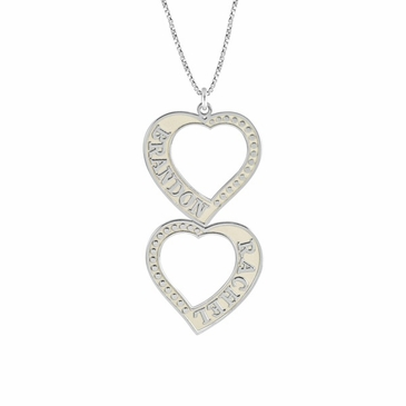 Double Heart Personalized Pendant Necklace