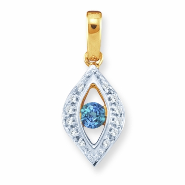 Elegant Diamond Marquise and Birthstone Pendant - with Genuine Stones