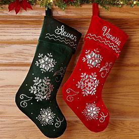Embroidered and Beaded Snowflakes Christmas Stockings - Personalized