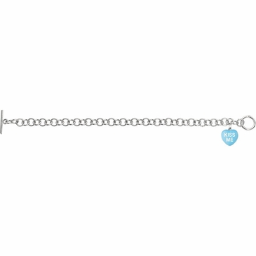 Enamel Heart Sterling Silver Bracelet with Toggle Lock