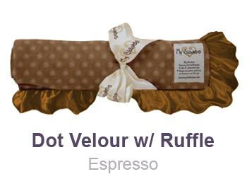 Espresso Dot Velour with Ruffle Trim Blanket by My Blankee