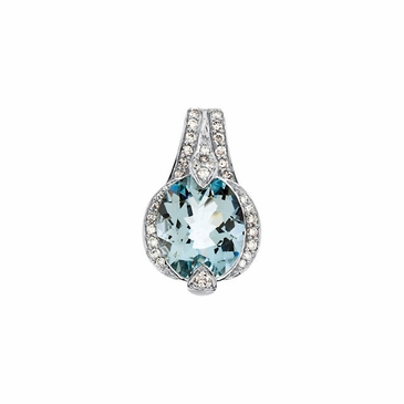 Exotic Aquamarine with Diamond Pendant