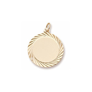 Extra Large Round Disc Charm with Diamond Cut Border by Forever Charms - Personalized