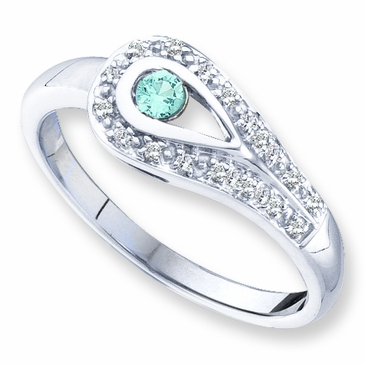 Family Birthstone and Diamond Love Knot Ring - with Genuine Stones