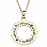 Family Birthstone Circle Pendant Necklace-14K Gold Plated