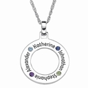 Family Birthstone Circle Pendant Necklace