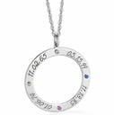 Family Circle of Love Birthstone Pendant Necklace