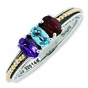 Family Lineage Birthstone Two Tone Ring - click to Enlarge
