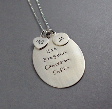 Family Oval Sterling Silver Necklace