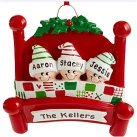 Family Snuggle Personalized Ornament - Hand Painted