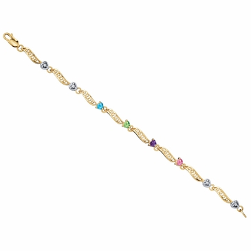 Family Togetherness Birthstone Bracelet 10k Gold