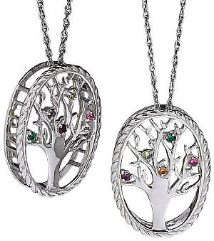 Family Tree of Life Birthstone Pendant Necklace