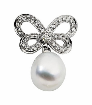 Fancy Butterfly Brooch With Diamond And Pearl