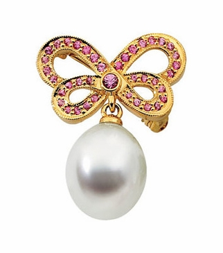 Fancy Butterfly Brooch With South Sea Cultured Pearl