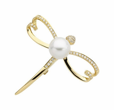 Fancy Dragonfly Brooch With South Sea Cultured Pearl