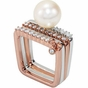 Fancy square ring with Cultured pearl - click to Enlarge