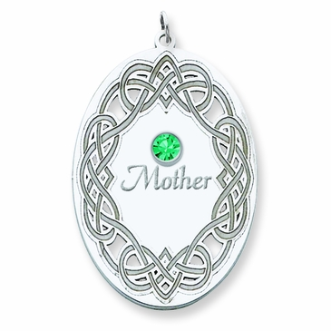 Filigree Celtic Knot Birthstone Pendant Silver - Personalized