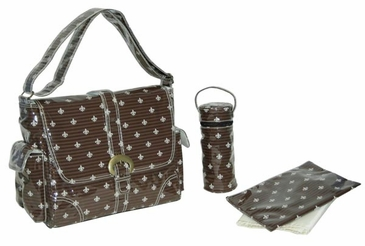 Fleur de Lis Chocolate Cream - Laminated Buckle Diaper Bag by Kalencom
