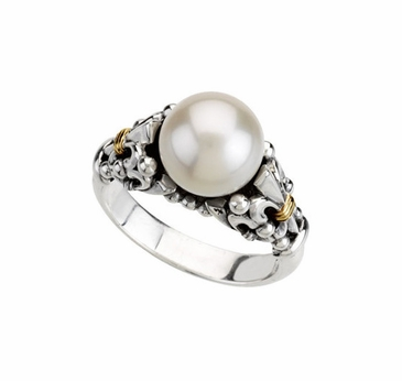 Fleur-de-lis with Freshwater Pearl Ring