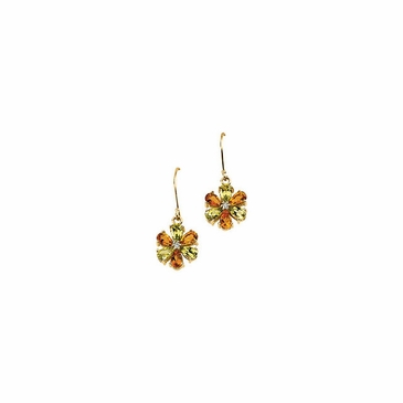 Floral Earrings with Multicolored Gemstones