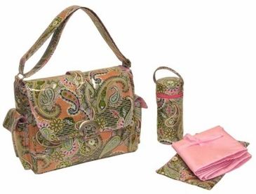 Florentine Paisley Pink - Laminated Buckle Diaper Bag by Kalencom