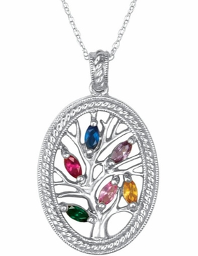 Framed Tree of Love Birthstone Necklace - with Simulated Stones