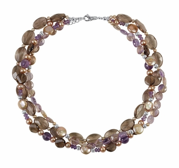 Freshwater Pearl & Gemstone Multi-Strand Necklace