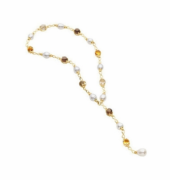 Genuine Gemstone and Pearl Necklace