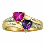 Gold Accented Double Heart Personalized Ring - with Genuine Stones