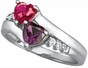 Gold Accented Double Heart Personalized Ring - with Simulated Stones - click to Enlarge