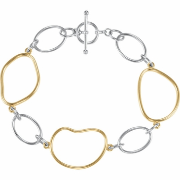 Gold and Sterling Silver Link Bracelet with Toggle Clasp