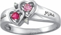 Gold Double Heart Engraved Ring - with Genuine Stones - click to Enlarge