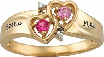 Gold Double Heart Engraved Ring - with Genuine Stones