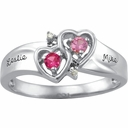 Gold Double Heart Engraved Ring - with Simulated Stones