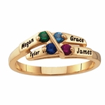 Gold Family Names Ring