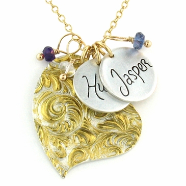 Gold Feather Heart Charm Necklace