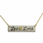 Gold Heart Double Name Bar Necklace