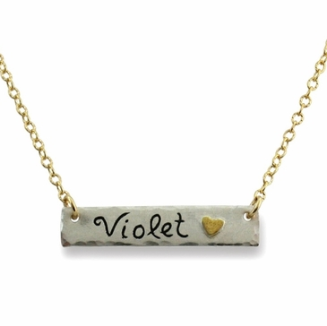 Gold Heart Name Bar Necklace