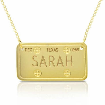 Gold License Plate Pendant