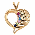 Gold Multiple Band Heart Necklace
