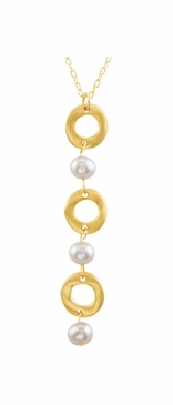 Gold Plated 16 Inch Fashion Necklace with Pearls and Fashion Beads
