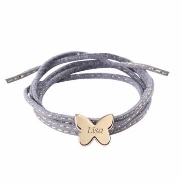 Gold Plated Butterfly Charm Leather Bracelet