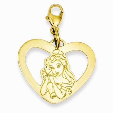 Gold-plated Disney Belle Silhouette Heart Charm