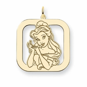 Gold-plated Disney Belle Silhouette Square Charm