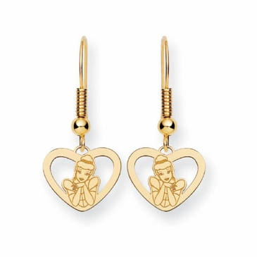 Gold-plated Disney Cinderella Heart Wire Dangle Earrings
