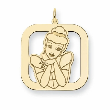 Gold-plated Disney Cinderella Silhouette Square Charm