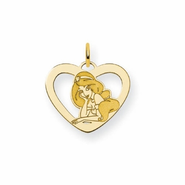 Gold-plated Disney Jasmine Silhouette Heart Charm